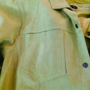 Chartreuse Suede Top by New Frontier, Size Large